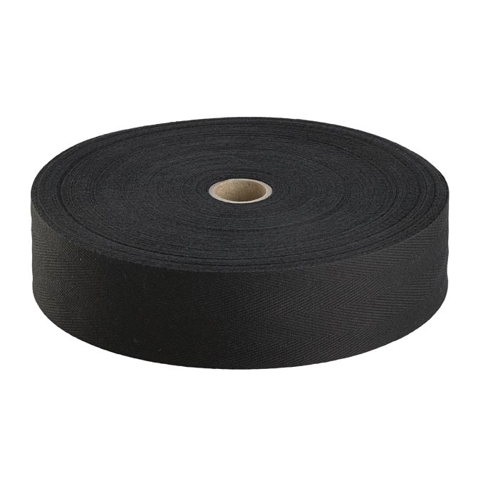 50 Metre Reel x 13mm Black Cotton Tape