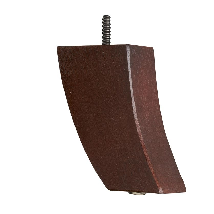 Wooden Sofa Leg 132mm X 80mm   Curved Back Leg In Mahogany Finish